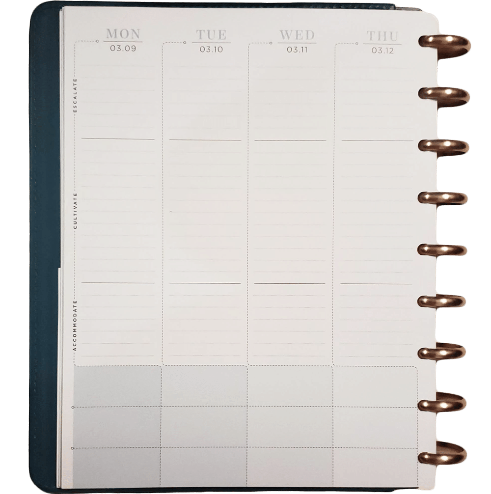 "Disc bound Inkwell Press Planner with classic layout sits open to a blank page that reads ""Accommodate"" ""Cultivate"" and ""Escalate"""