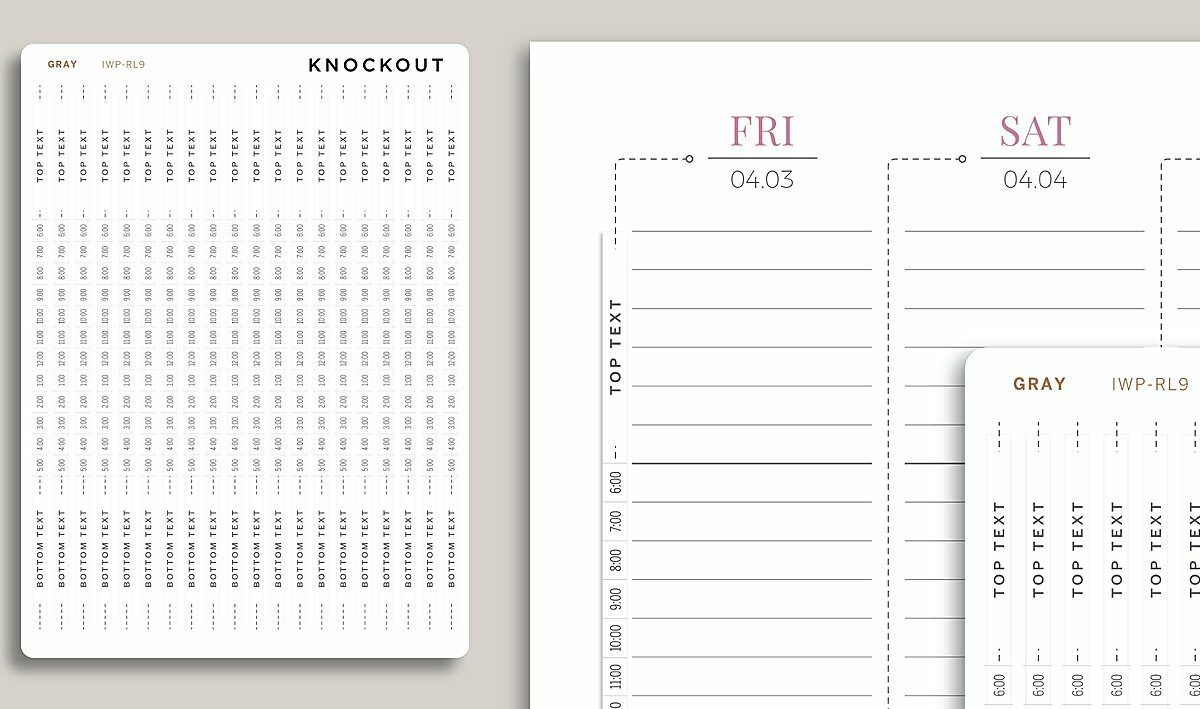 Knockout Print Shop cover strips stickers placed next to an Inkwell Press Planner
