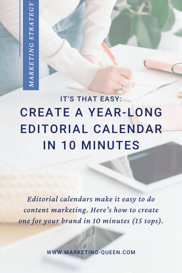 Image of: Social network business. Internet marketing. SMM woman at workplace making notes in schedule. Tablet and smartphone.  Text over the image reads: It's that easy: create a year-long editorial calendar in 10 minutes.
