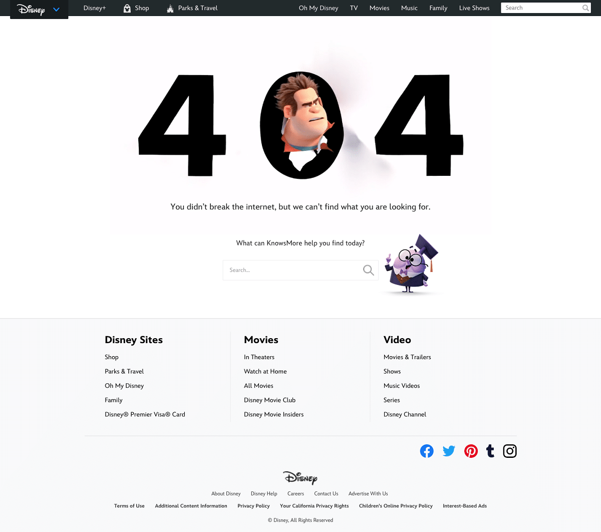 Screenshot of Disney's 404 error page, which features an image of Wreck-It Ralph from the movie Ralph Breaks the Internet.