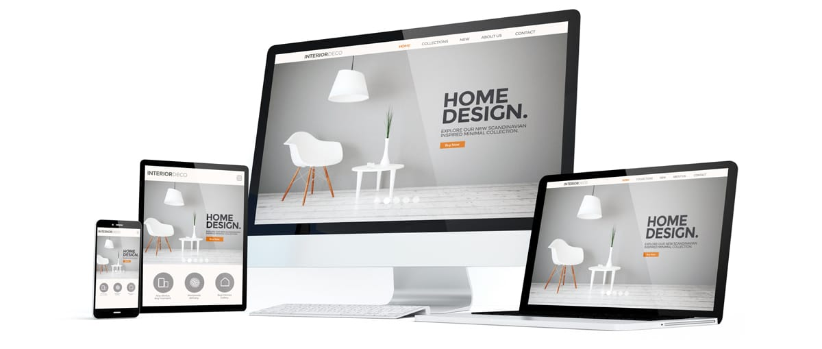 A desktop computer, laptop, iPad, and iPhone next to each other. All device screens are on a home design webpage showing a hero image of a mid century modern chair, lamp, and table.