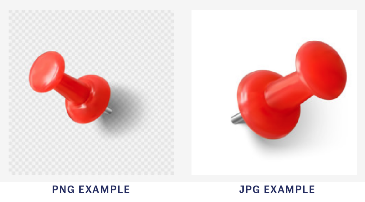Two images of red thumbtacks. One is an example of an image in PNG format, and the other is in JPG format.