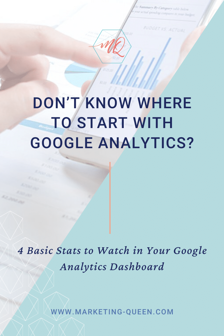 "A woman holds a smartphone in the side view and is seriously analyzing the graph of google analytics. Text overlays the image that reads ""Don't know where to start with Google Analytics?"""