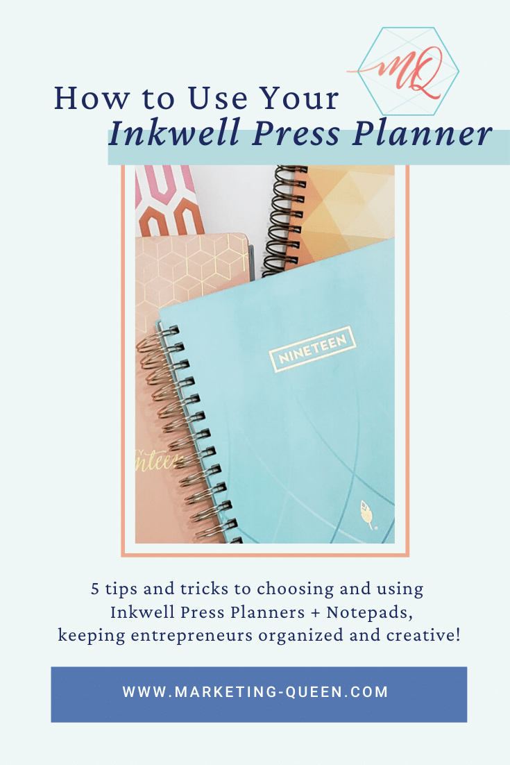 "Several Inkwell Press Planners laying on top of a table. text over image states, ""How to use your Inkwell Press Planner."""