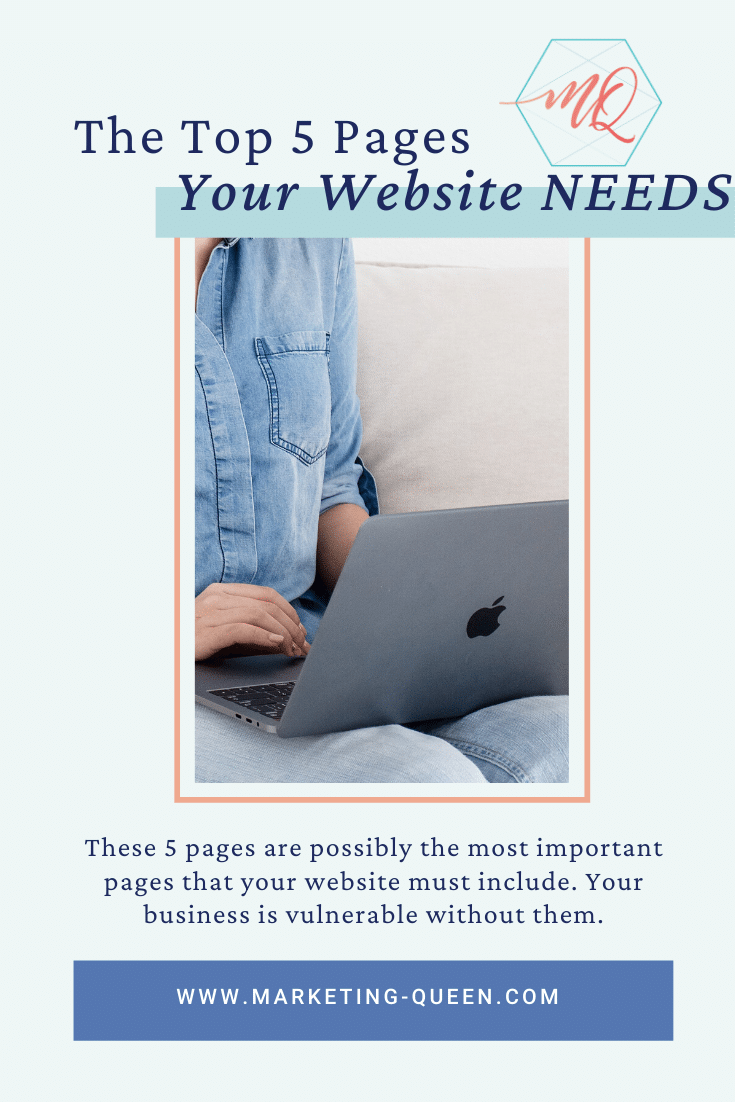 """Woman sitting on a sofa typing on her laptop. Text says, """"the top 5 pages your website needs."""""""