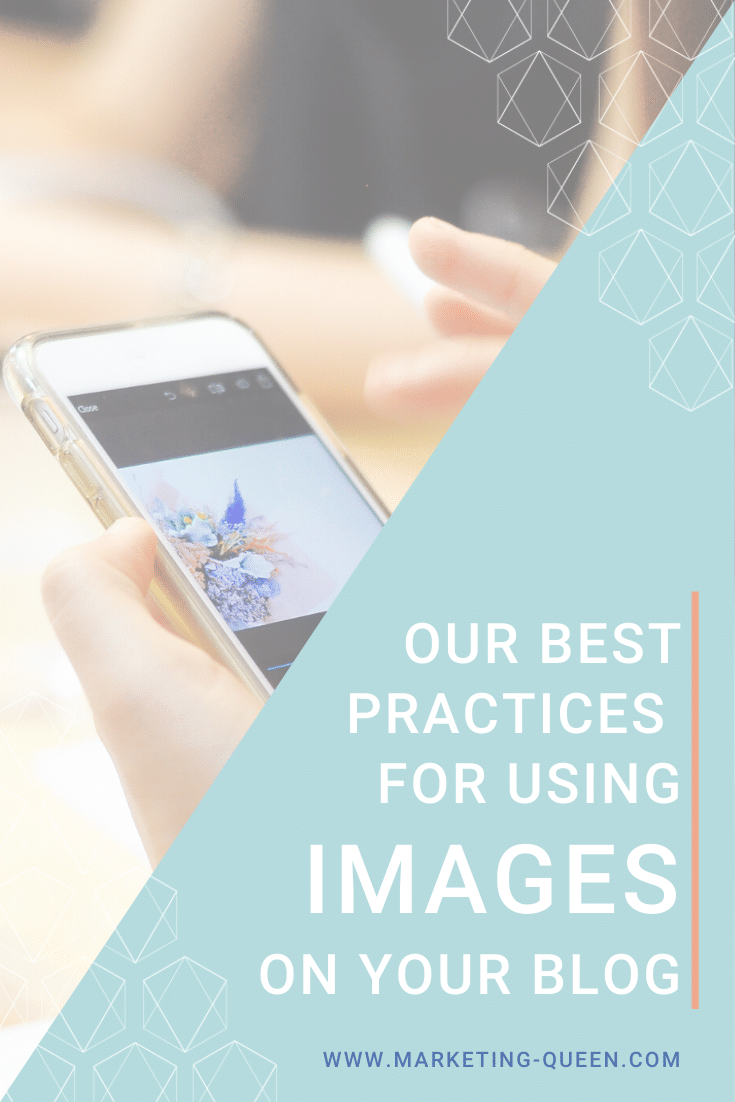 "A person looking at photos on their smartphone. Text over the image states, ""Our best practices for using images on your blog."""