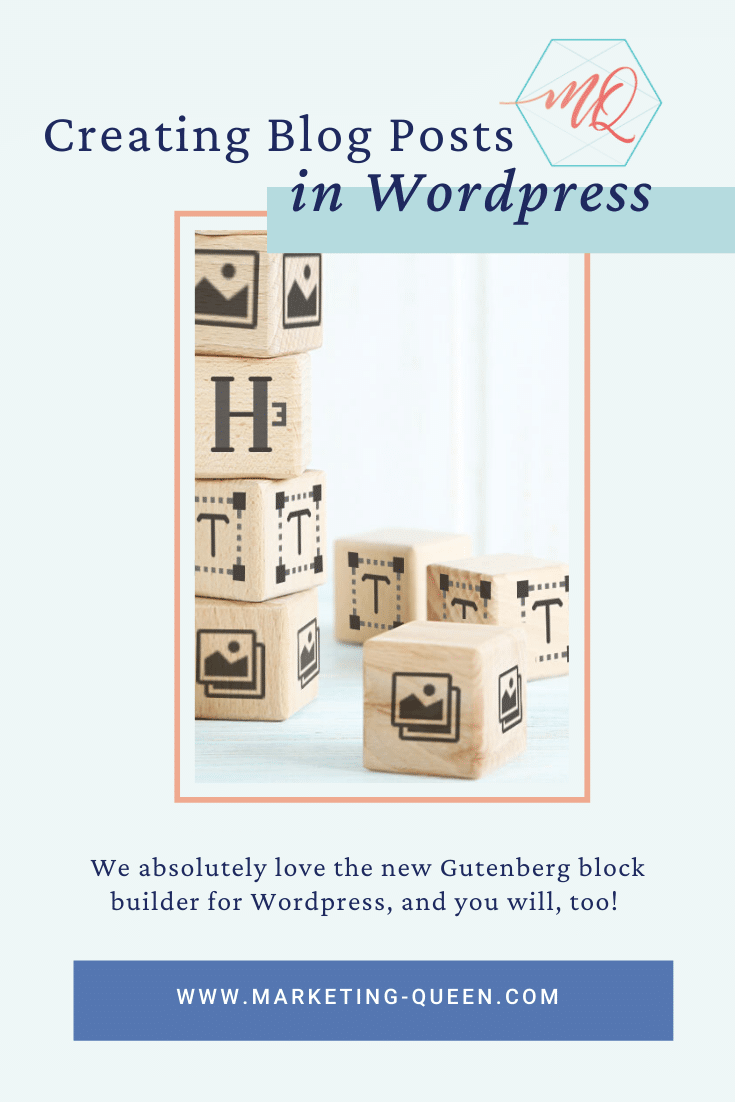 """Blocks stacked on top of each other with WordPress icons on each block. Text over the image says, """"Creating blog posts in WordPress."""""""