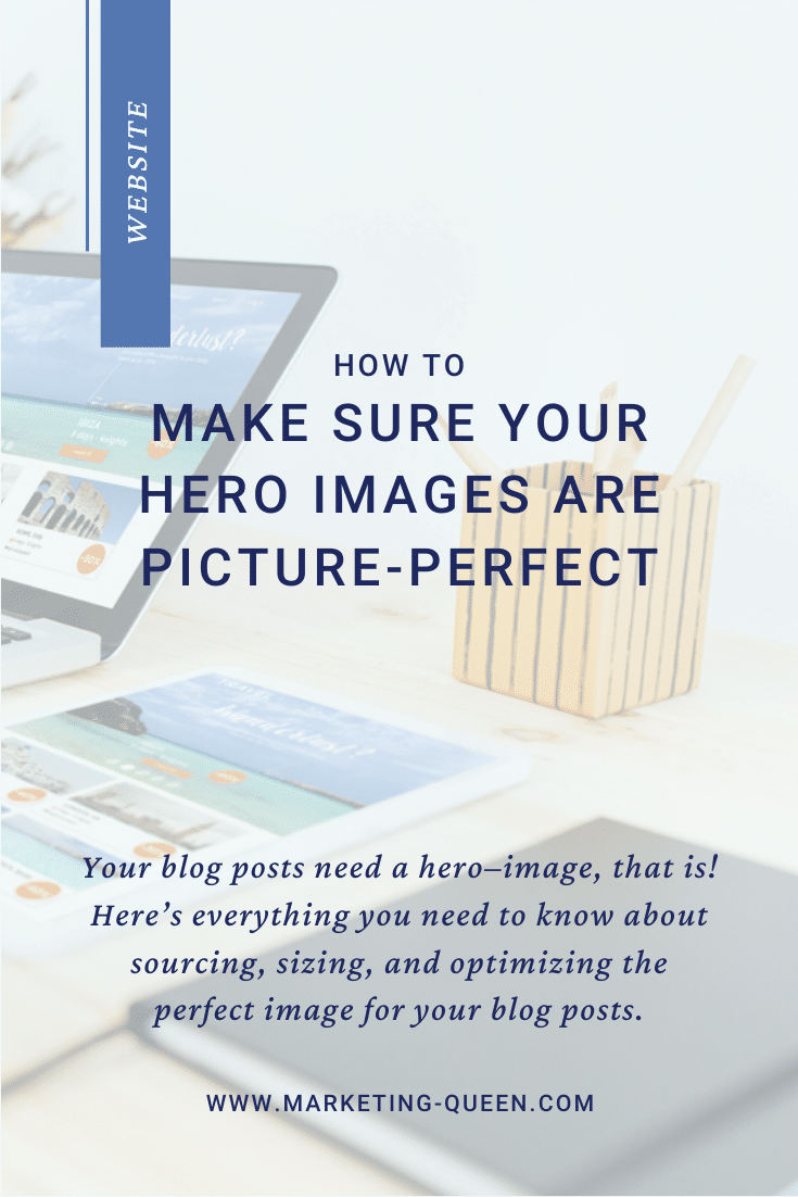 "An open laptop, tablet, and notebook on a desk. Text over image states, ""How to make sure your hero images are picture-perfect."""