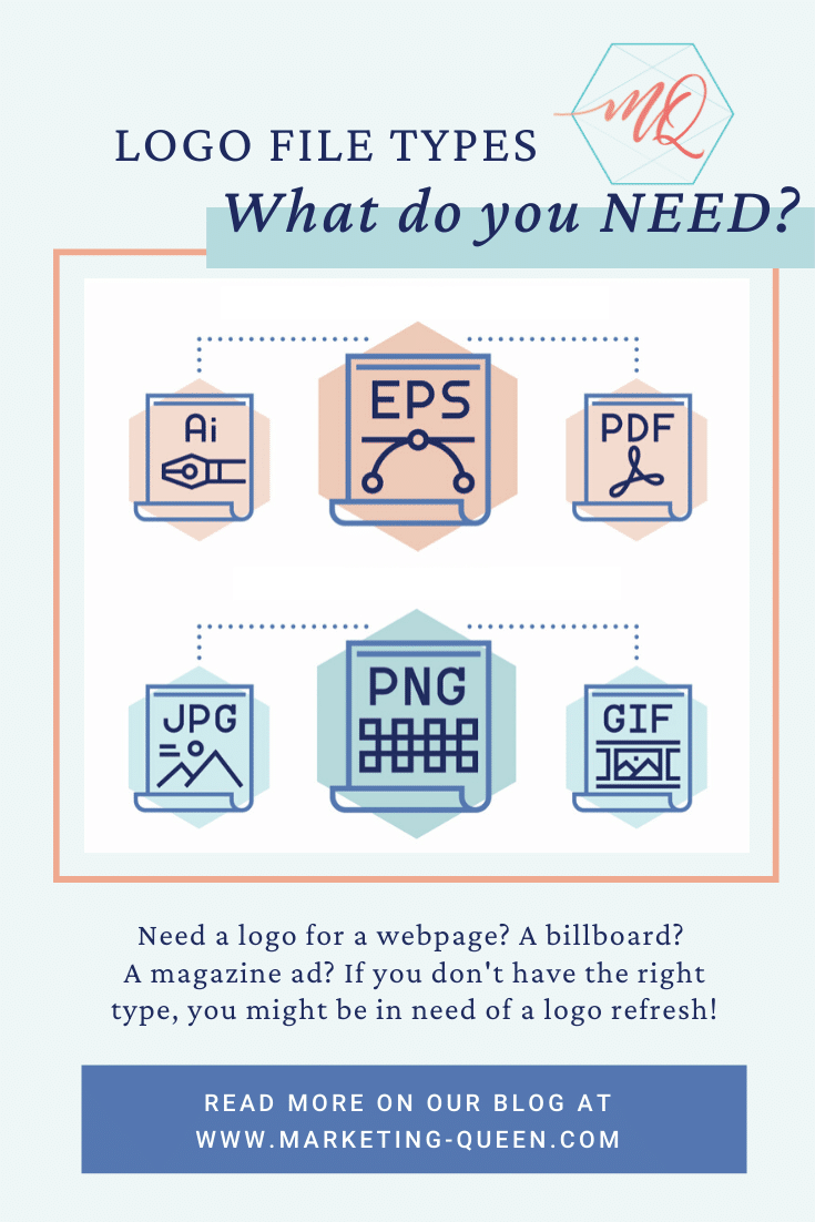 """Graphic of different image file types. Text over graphic says, """"Logo file types: What do you need?"""""""