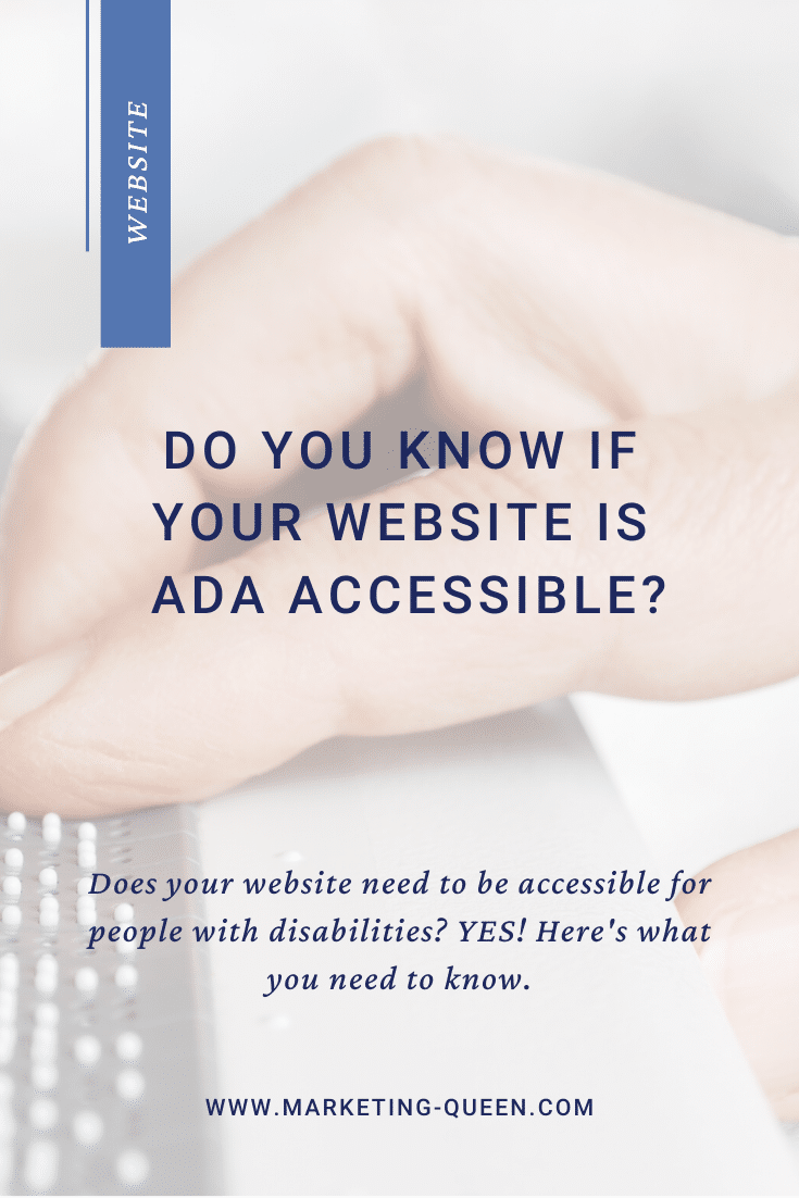 "A hand using an accessible keyboard. Text over images says ""Do you know if your website is ADA accessible?"""