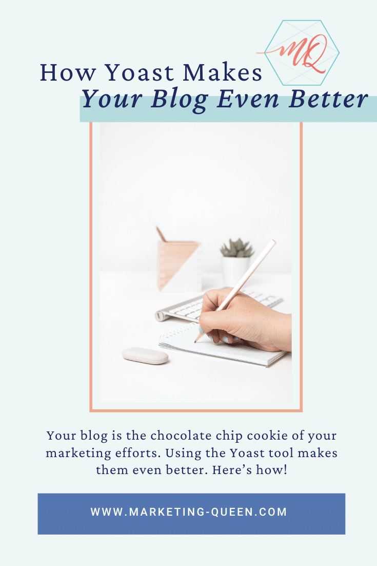 "A hand writing in a notebook next to a wireless keyboard and mouse. Text over the image states, ""how Yoast makes your blog even better."""