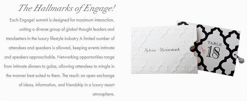 A graphic from Engage Summits containing to place setting cards and an explanation of how they bring their brand purpose of personal engagement into their company via their conferences for wedding industry professionals from around the world.