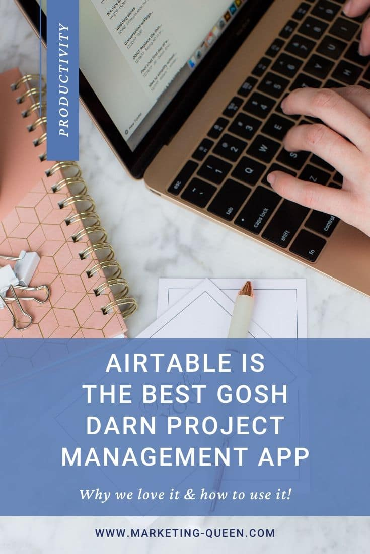 "A person's hands typing on a laptop keyboard with pens, clips, and a notebook next to them. Text over the graphic states,""Airtable is the best gosh darn project management app. Here's why we love it + how to use it."""