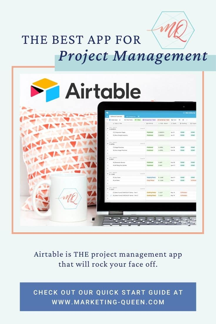 "A computer screen with an Airtable base on the screen. The Airtable logo is in the upper left corner of the image. Text over the image states, ""The best app for project management."""