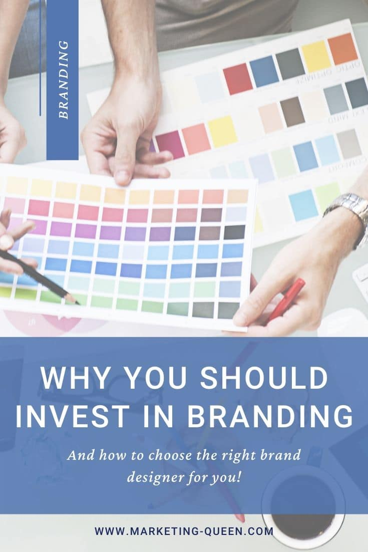 "Design Studio Creativity Ideas Teamwork Technology Concept. Text under the image states, ""why you should invest in branding and how to choose the right brand designer for you!"""