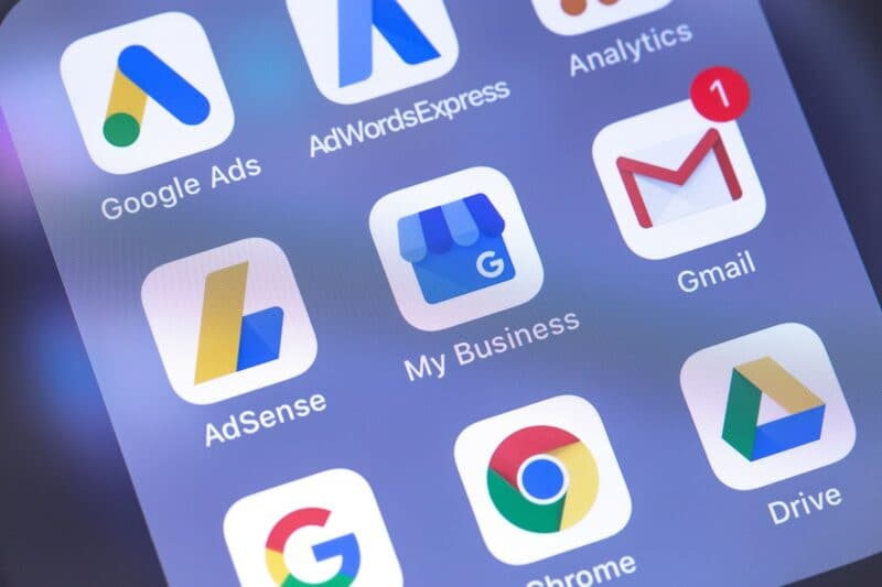 Google services, apps, and icons on the screen of a smartphone. What is G Suite? These apps are part of G Suite.