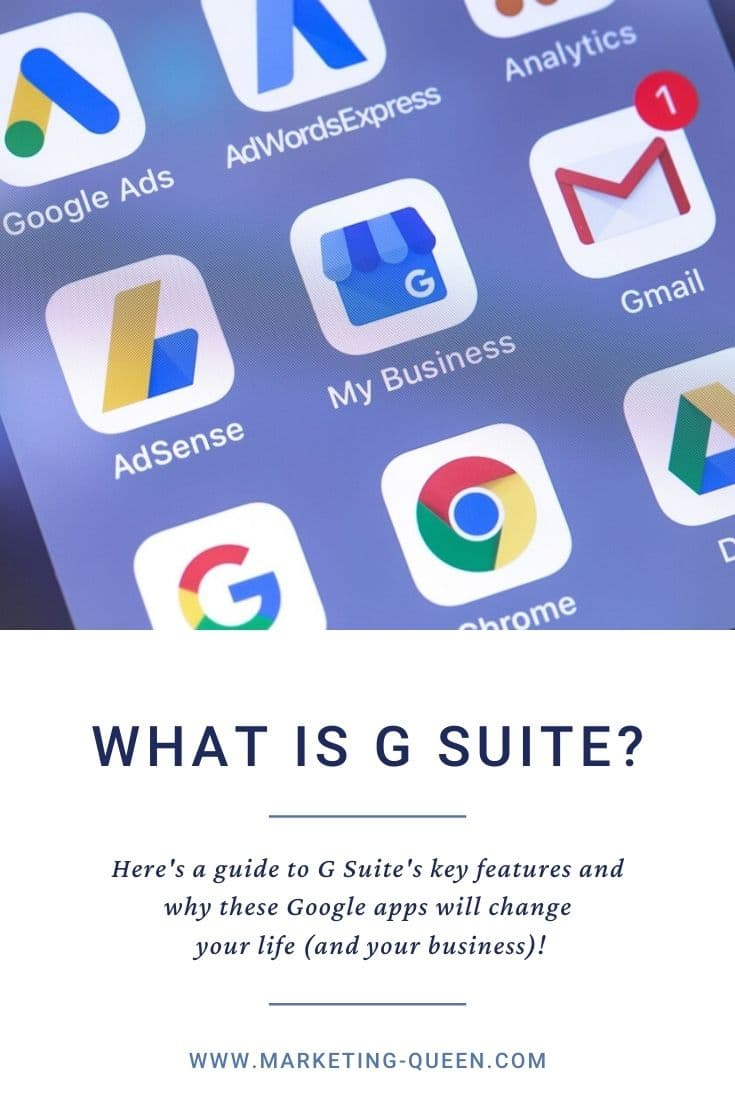 """Google services, apps, and icons on the screen of a smartphone. These apps are part of G Suite.Text under image states, """"What is G Suite?"""""""