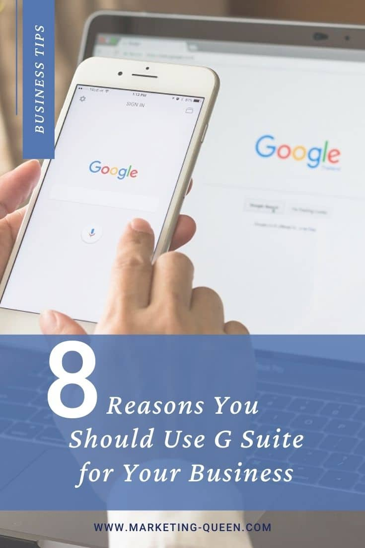 """A person holding a smartphone with the Google homepage on the screen in front of a laptop screen that also has the Google homepage open on it. Text over the image states, """"8 reasons you should use G Suite for your business."""""""