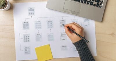 Web designer working on website sitemap.