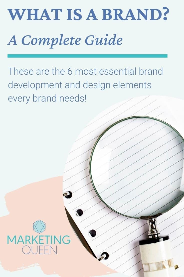 """A Pinterest graphic with an image of a magnifying glass. Text overlay reads """"What is a brand? A complete guide."""""""