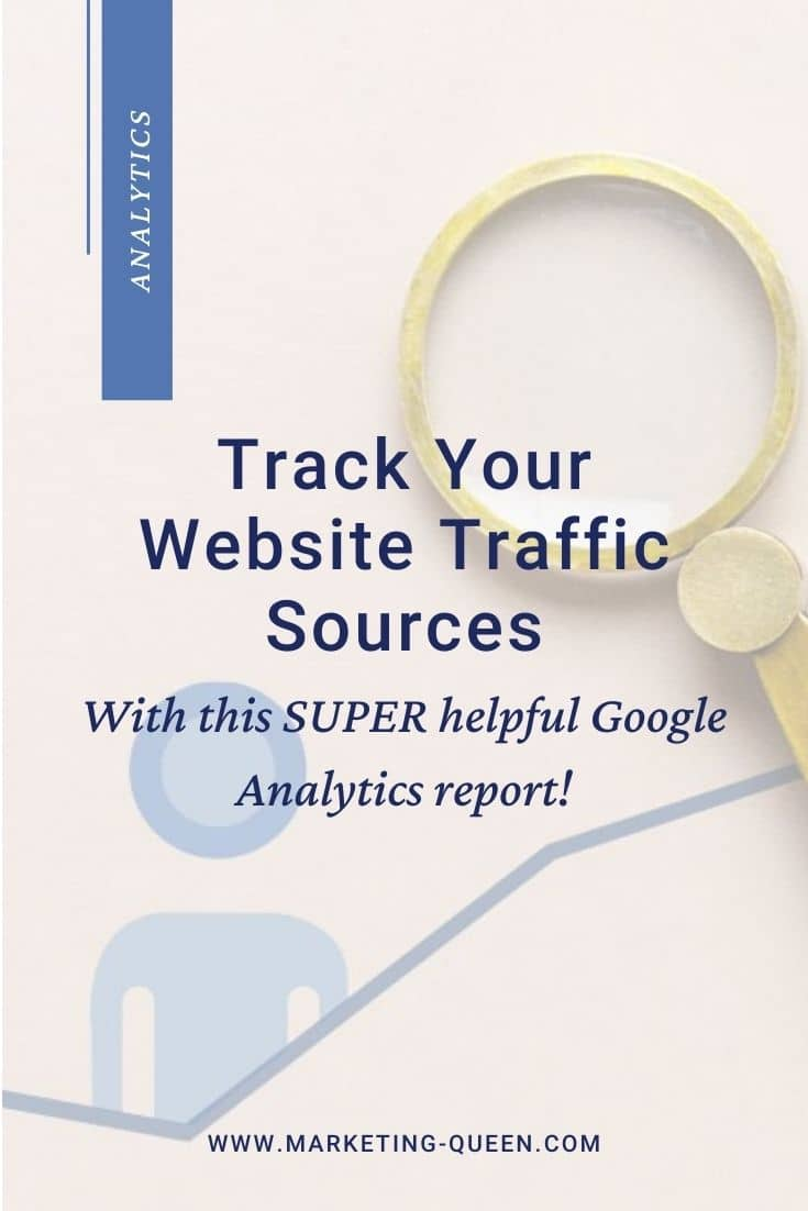 "A graph with an icon of a person and a magnifying glass. Text overlay states, ""Track your website traffic sources with this super helpful Google Analytics report."""
