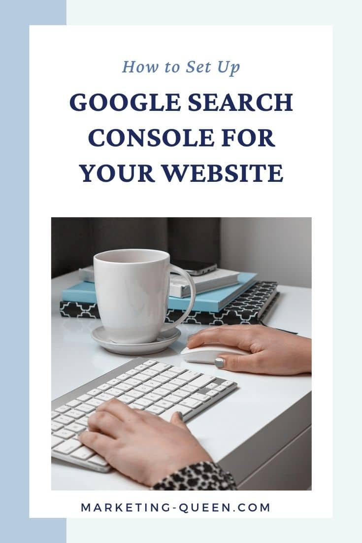 Hands on a keyboard and mouse with a mug and notebooks in the background. Text overlay: How to set up Google Search Console for your website