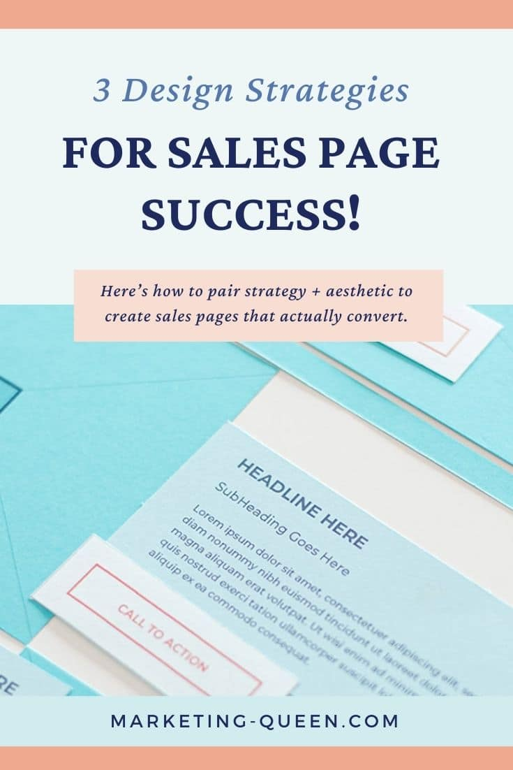 "Graphic of a sales page layout showing where a headline, body of text, and call to action should go. Text overlay: ""3 design strategies for sales page success!"""