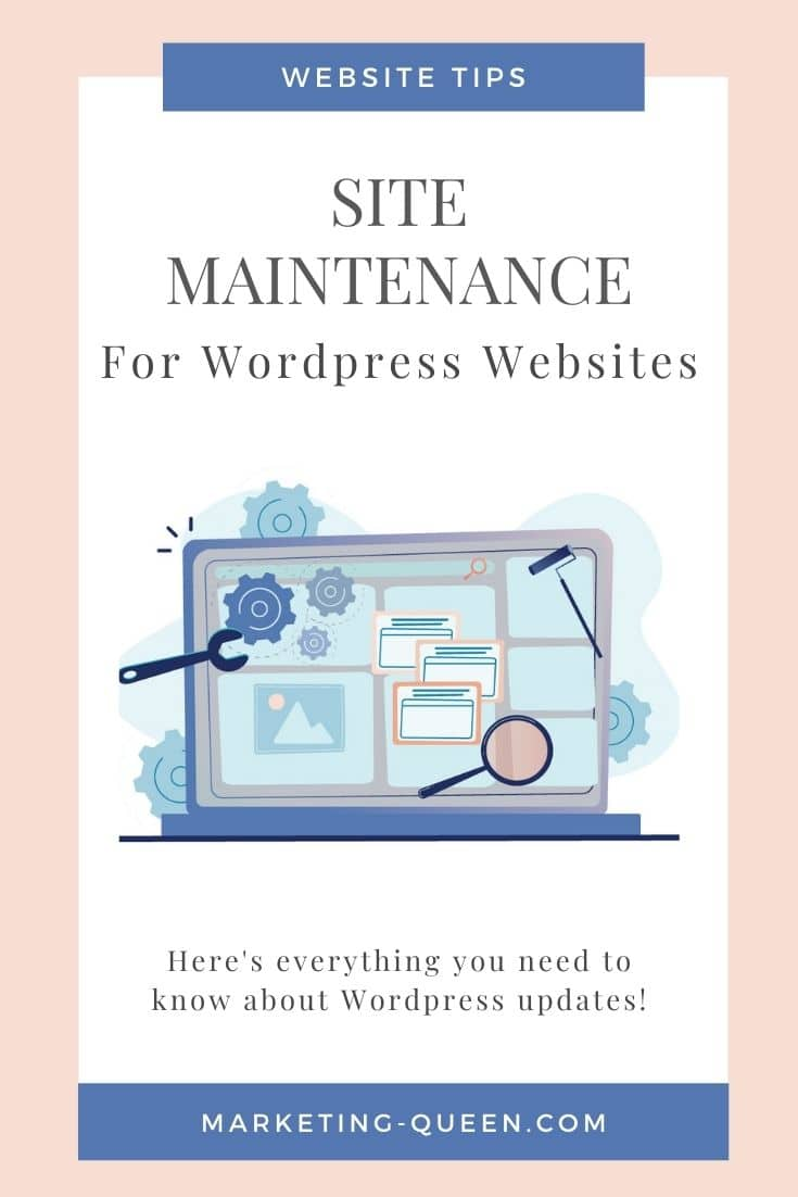 """Graphic of a laptop representing website updates and maintenance; text overlay: """"Site maintenance for WordPress websites"""""""