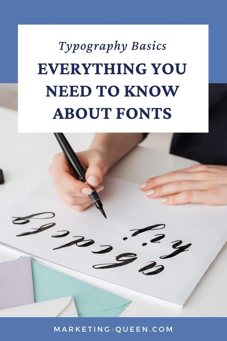 """A Pinterest graphic of a woman hand lettering the alphabet in a cursive script on a notepad. Text overlay: """"Typography basics: everything you need to know about fonts."""""""