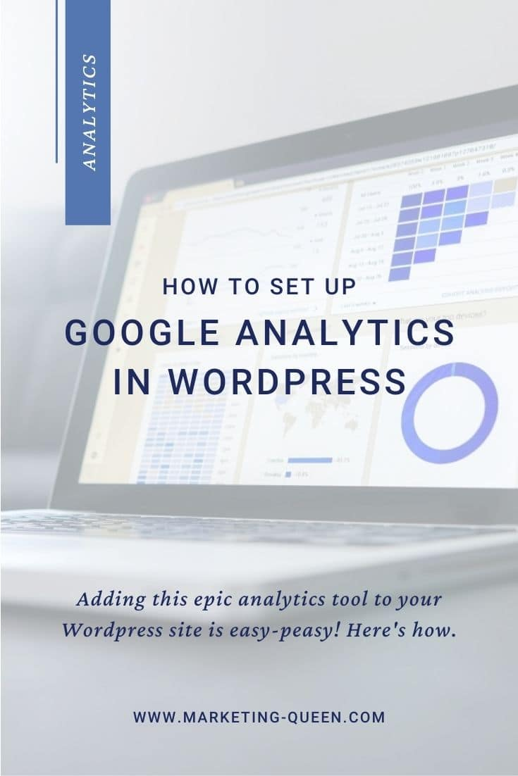 """Google Analytics Dashboard on a Laptop Screen, text overlay """"How to set up Google Analytics in WordPress""""."""