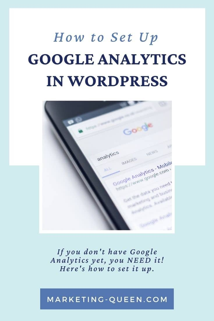 """Google search results for the word """"analytics"""". Text overlay: how to set up Google Analytics in WordPress""""."""