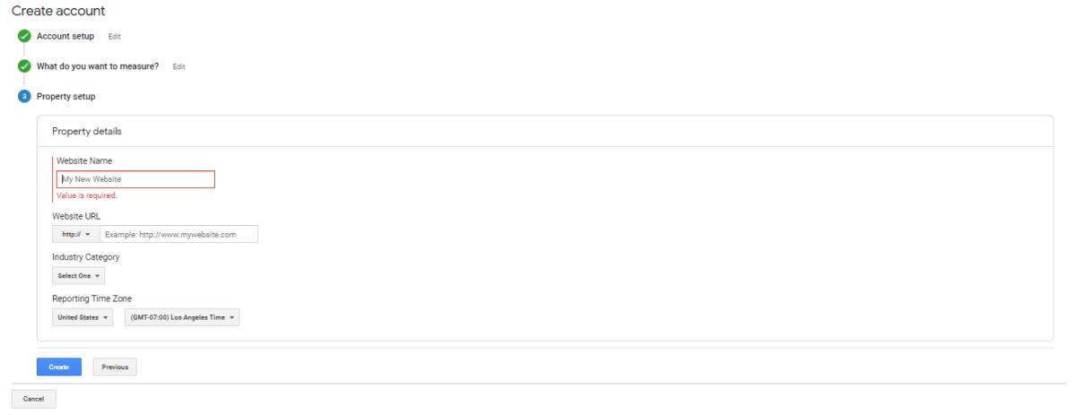 "Screen shot of Google Analytics Account Setup Screen, ""Property setup"" section"