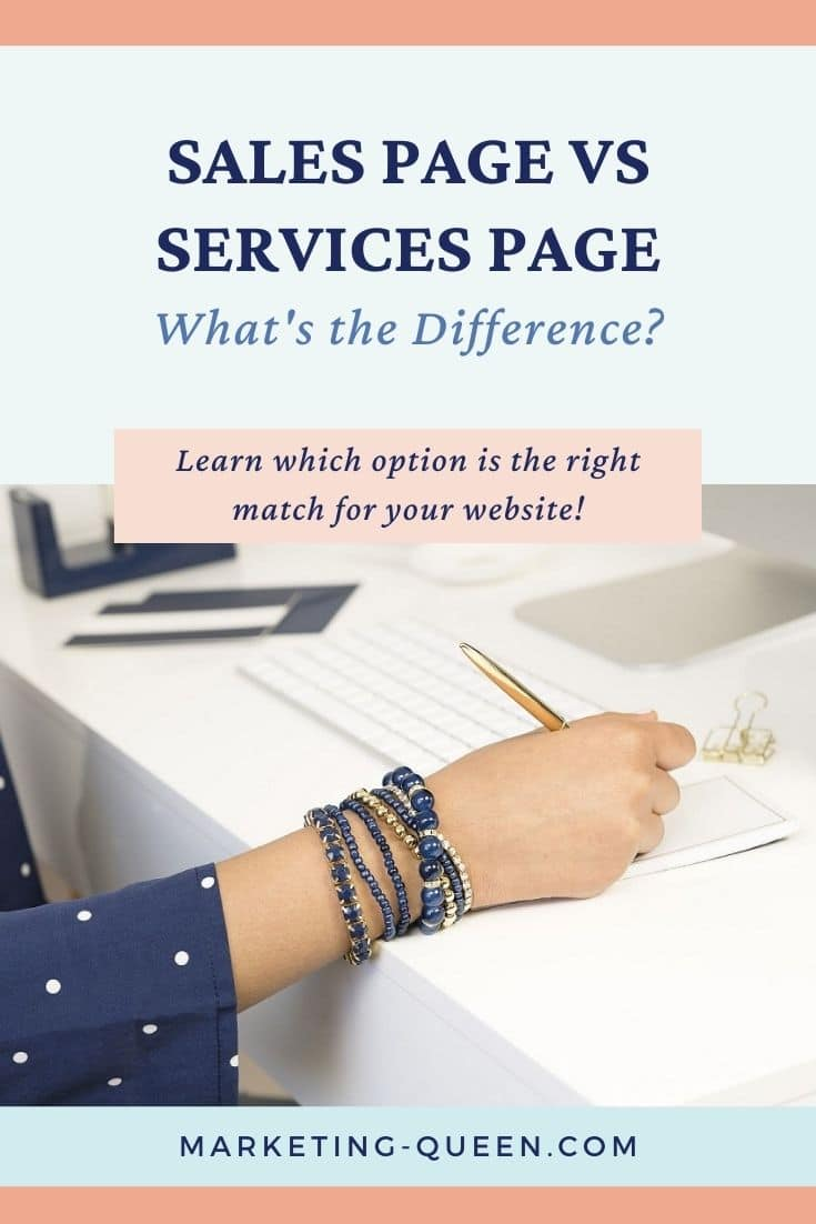 "A hand typing next to a keyboard. Text overlay: ""Sales page and services page. What's the difference?"""