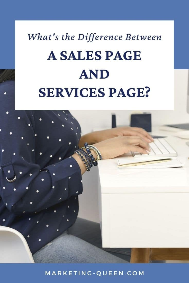 "Hands typing on a keyboard. Text overlay: ""what's the difference between a sales page and services page?"""