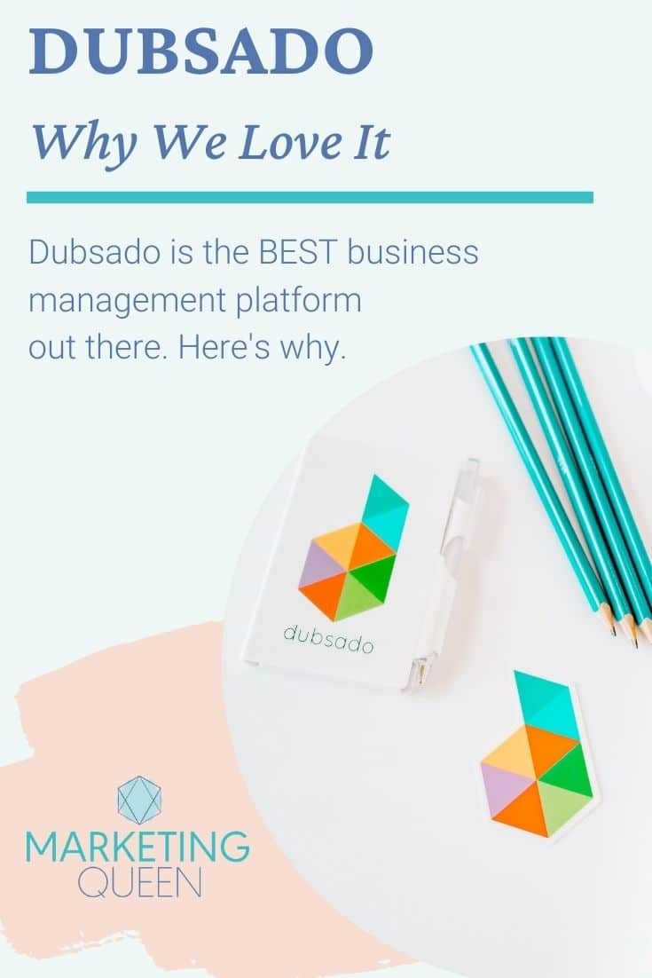 """A Pinterest graphic with some office supplies with the Dubsado logo on them. Text overlay: """"Dubsado, why we love it."""""""