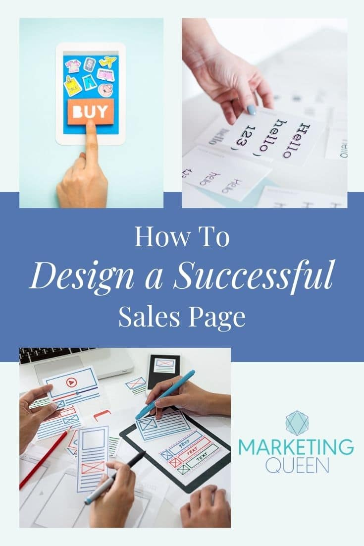 "Images of an iPad, font types, and a paper wireframe on a graphic with text overlay that states, ""How to design a successful sales page."""