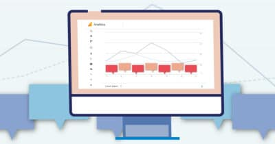 A graphic designed by Marketing Queen Consulting of a computer monitor with a Google Analytics report with annotations on the screen