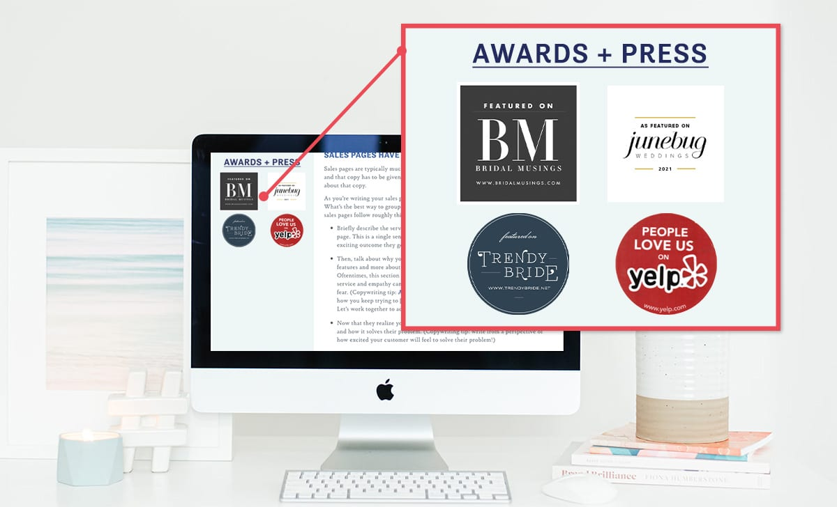 A computer desktop screen with a close up view of an example widget highlighting a brand's awards and press coverage on the web page's sidebar