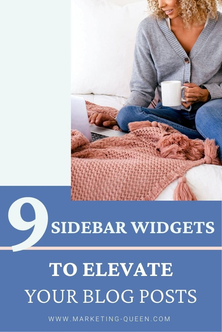 A woman holding a cup of coffee working on her laptop. Text overlay: 9 sidebar widgets to elevate your blog posts