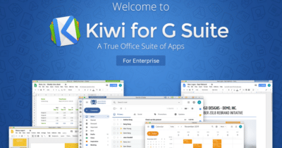 Kiwi for Gmail logo and computer screens showing Kiwi app in use