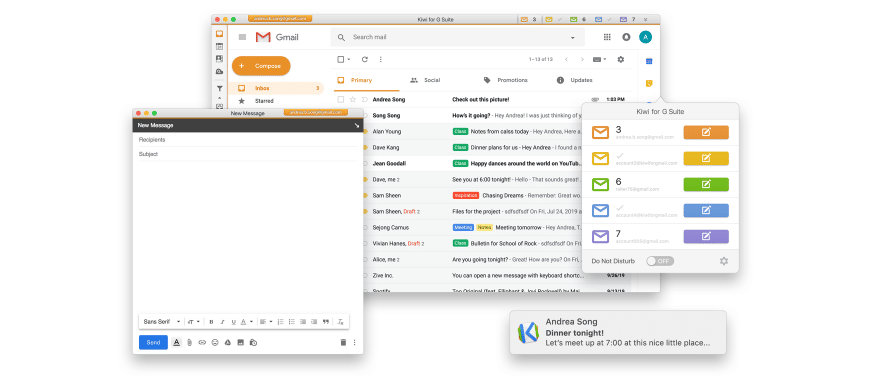 Screenshot of the Kiwi for Gmail app interface