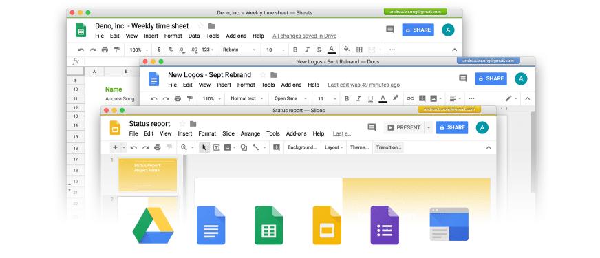 Screenshot of multiple G Suite Apps open in Kiwi