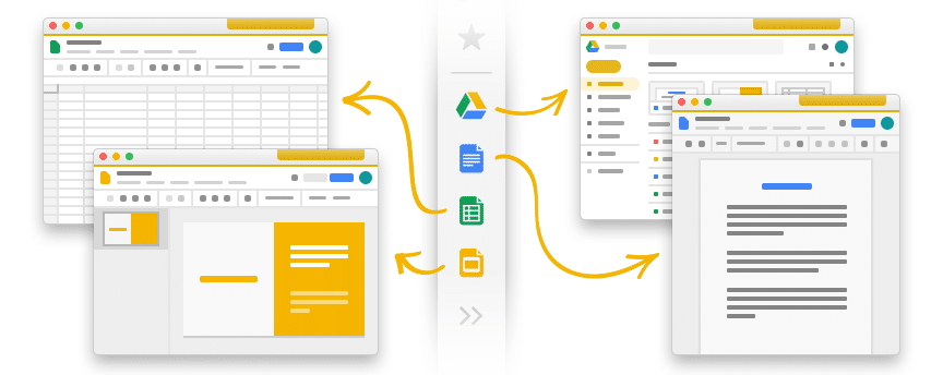 Screenshot showing Kiwi sidebar icons that show how easy it is to create new documents in Kiwi