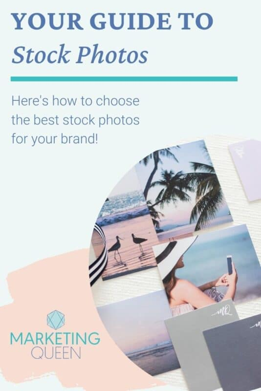 Pinterest graphic of several stock photos on a table. Text overlay: Your guide to stock photos