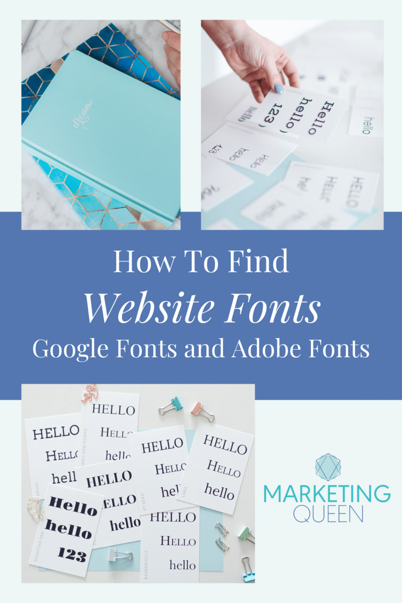 Pinterest Graphic that says How to find Website Fonts with Google Fonts and Adobe Fonts. There are blue layered squares on the graphic and photos of scattered cards that have fonts on them.