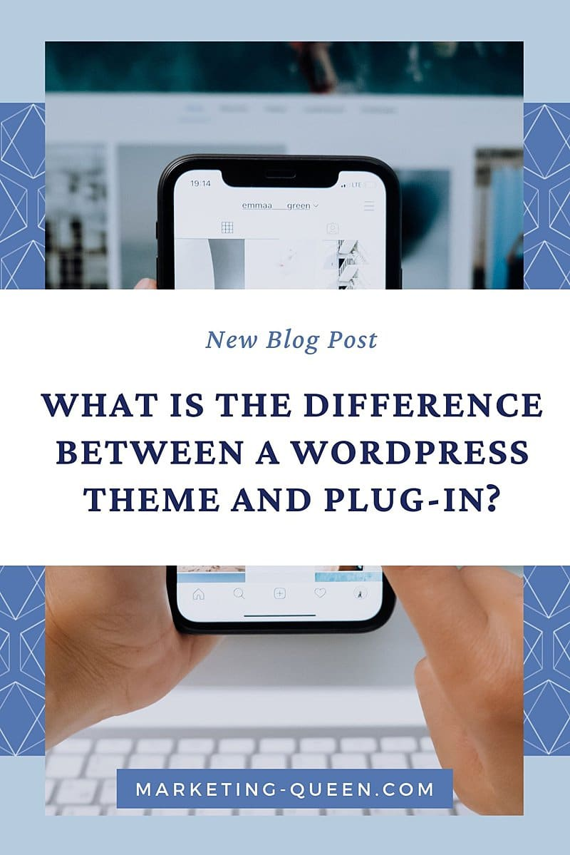 """Vertical Pinterest Graphic that reads """"What is the Difference Between a WordPress Theme and Plugin?"""" with a background photo that is mostly covered up with the text banner. The photo shows someone using their mobile phone."""