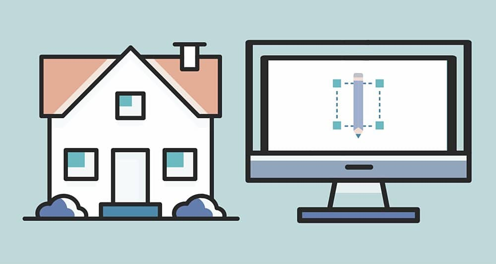 Graphic showing a house on the left and a computer monitor on the right. The monitor has a design on it with a pencil and outlined square indicating design.