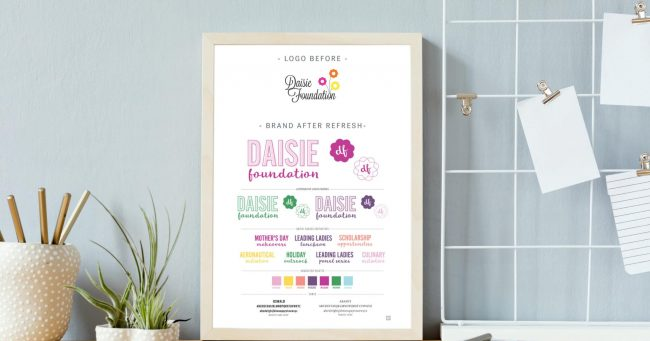 A brand board, including a company's logo, alternate designs, brand colors, fonts, and mood board. Propped up against a wall on top of a desk next to some potted plants and a notebook.