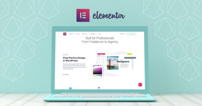 Image of a laptop open with the screen showing the Elementor website homepage